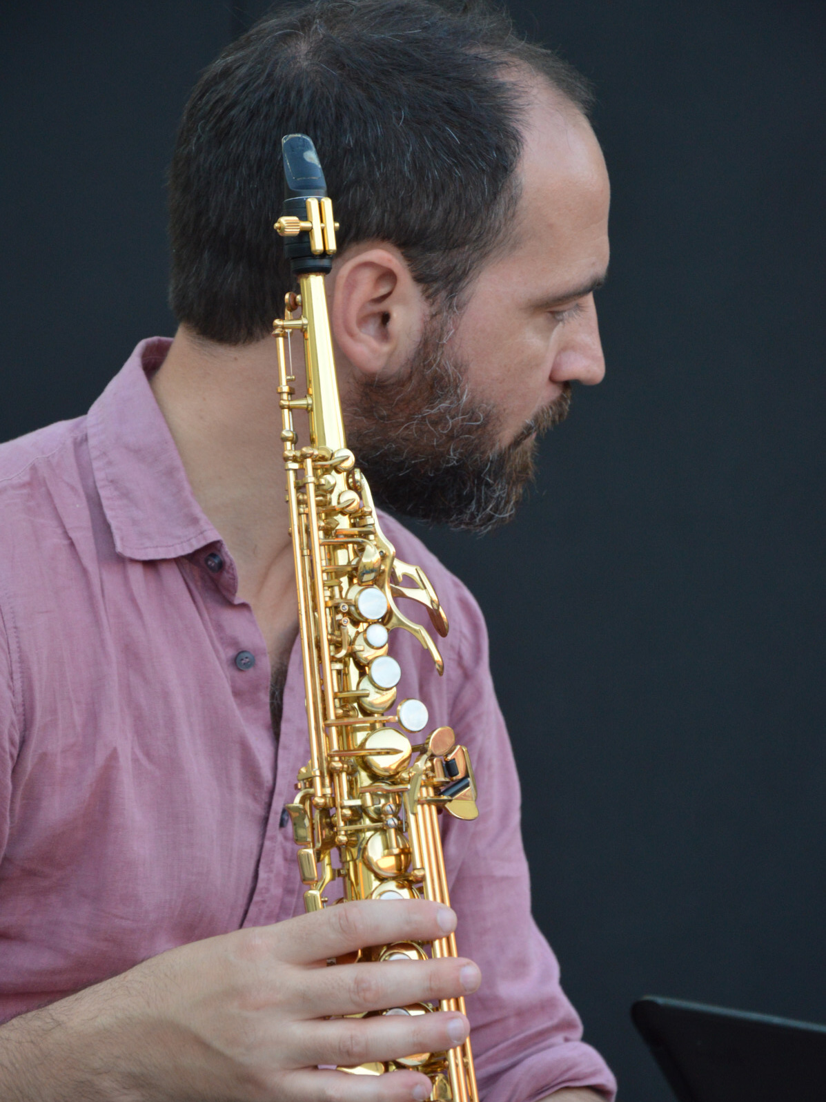 Michele De Filippo sassofonosta della band degli Armonici de I Ricostruttori